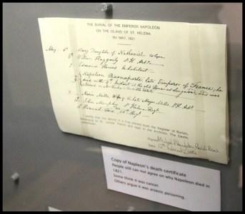 Jamestown Museum-Napoleon's Death Certificate Copy