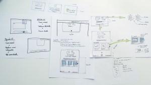 Bocetos, wireframes de baja fidelidad creados a mano en papel con rotuladores