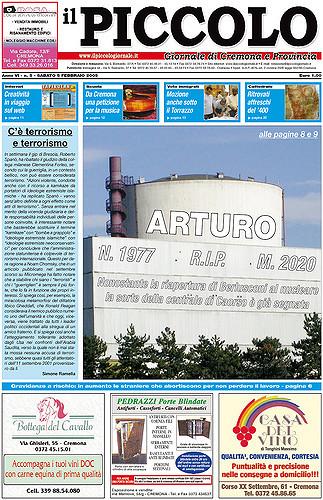 Copertina del Piccolo Giornale del 5 febbraio 2005