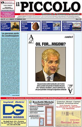 Copertina del Piccolo Giornale del 12 febbraio 2005
