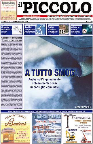 Copertina del Piccolo Giornale del 12 marzo 2005