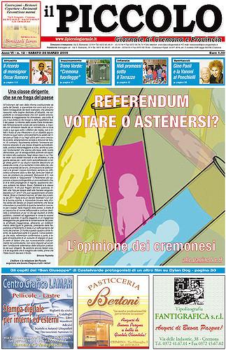 Copertina del Piccolo Giornale del 26 marzo 2005