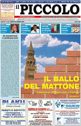 Copertina del Piccolo Giornale del 23 aprile 2005
