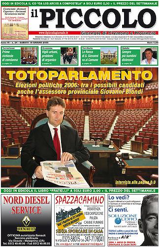 Copertina del Piccolo Giornale del 18 giugno 2005