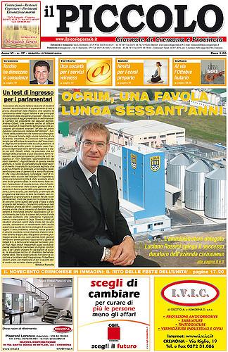 Copertina del Piccolo Giornale dell'1 ottobre 2005