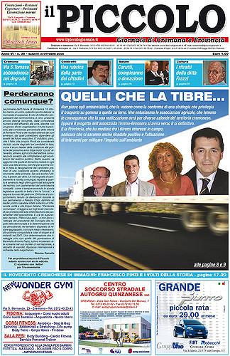 Copertina del Piccolo Giornale del 15 ottobre 2005