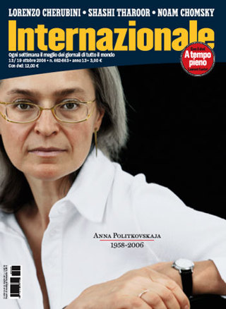 Anna Politkovskaja sulla copertina di Internazionale del 13 ottobre 2006