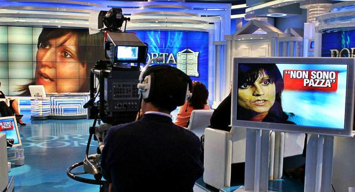 Lo studio di Porta a Porta durante una puntata dedicata al delitto di Cogne