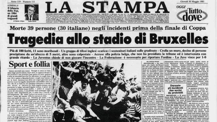 La prima pagina della Stampa del 30 maggio 1985