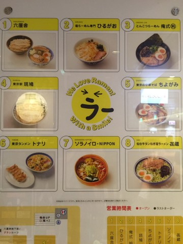 8 different styles of ramen at Ramen Street under Tokyo Station Yaesu Exit