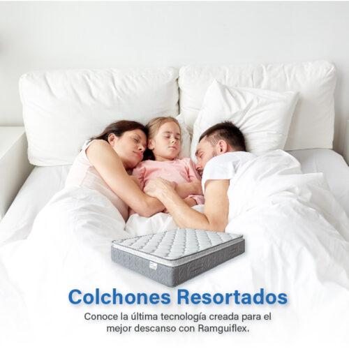 Madre, Padre e Hija disfrutando del Colchón Resortado Ramguiflex