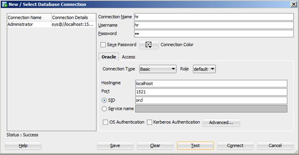 SQL Developer - הגדרת יוזר HR