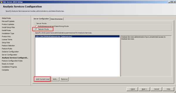 installing tabular model step 11