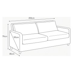 2 Seater Sofa Bed Size High Leg 3 In Meters Baci Living Room
