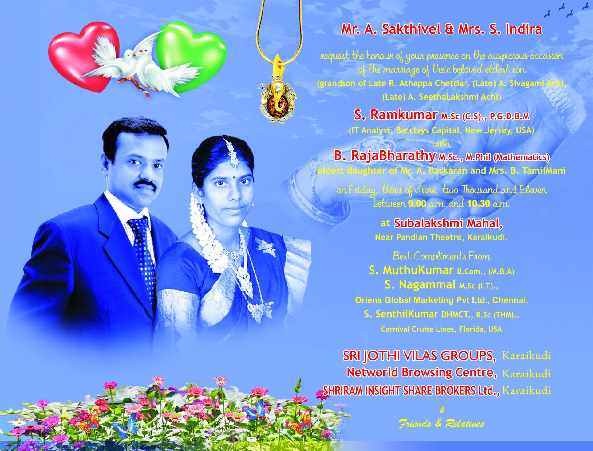 Ramkumar & Rajabharathy Our Wedding Blog