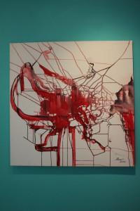 Abstract Neuronal Network - Red by Ramona Romanu