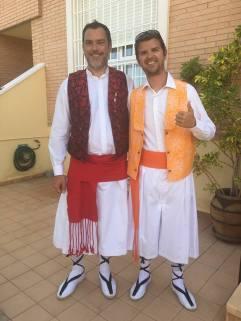 Antonio Frutos y Pedro Quiñonero. Después de un duro día de trabajo.