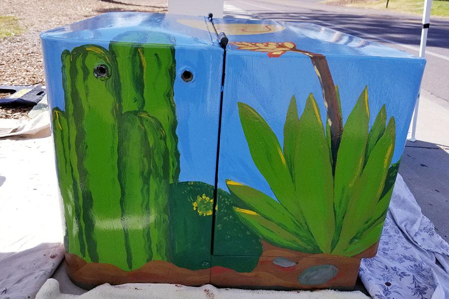1. Artist Lauren Chiara and student artist Isobel Maehler