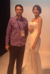RT Thomas with Chinese model in Ningbo Fashion Fair 2013