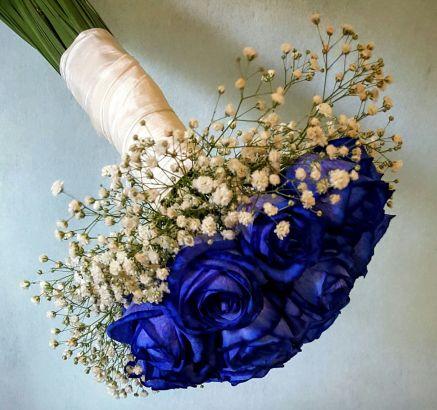 Ramo de novia rosas azules