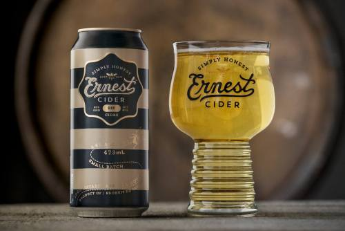 ernest cider can and glass