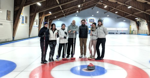Curling with team Ramp Agency Toronto at the East York Curling Club
