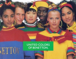 United Colors of Benetton ad with diverse group of people wearing bright colours, looking at the camera