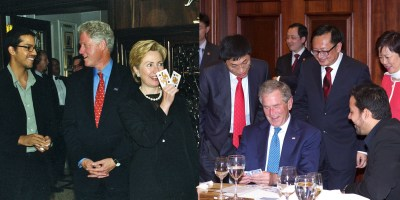 Bill and Hillary Clinton and George W. Bush entertained by David Blaine