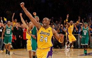 Kobe Bryant celebrating another victory