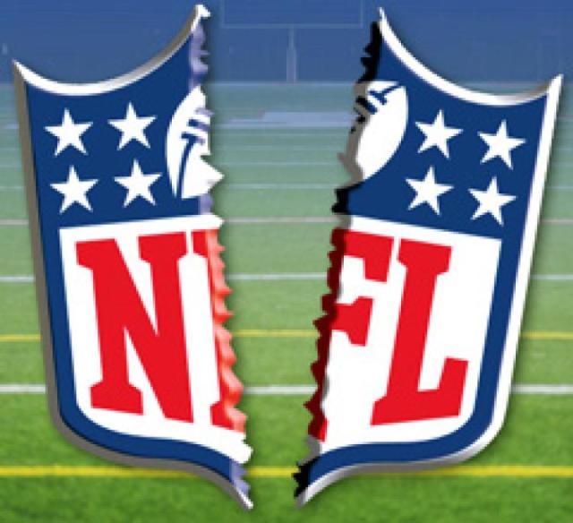 NFL logo ripped in half