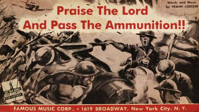 Praise the Lord and Pass the Ammunition artwork from the 1942 song by Kay Kyser for Famous Music.