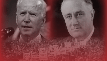 Biden and FDR outlined in red over a mass demonstration in the 1930s