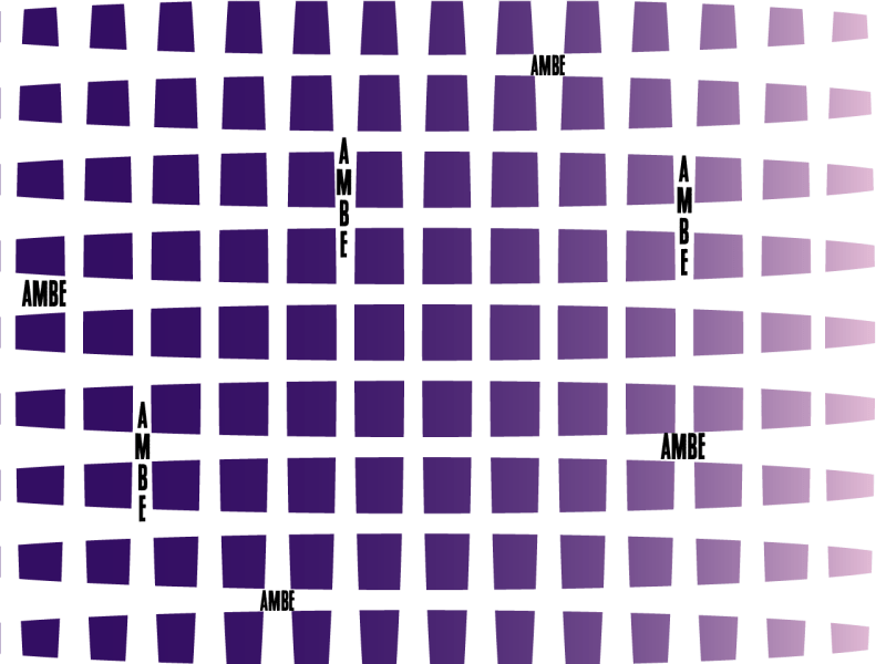"""A lattice of thick white lines grafts onto an indigo-purple gradient, with the word """"Ambe"""" appearing in the interstices."""