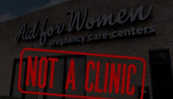"""An image of a so-called crisis pregnancy center with a stamp overlaid that reads """"not a clinic."""""""