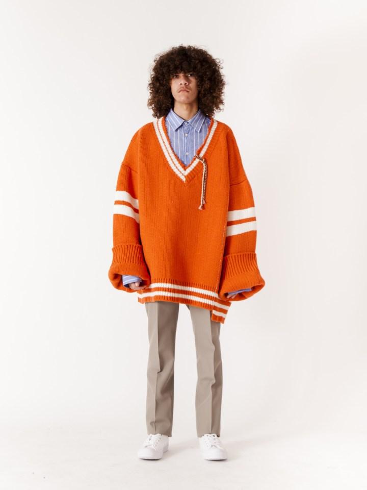 RAF_SIMONS_Extremely_Big_Destroyed_Stripe_V-Neck_Knit_Sweater_Orange_White_x