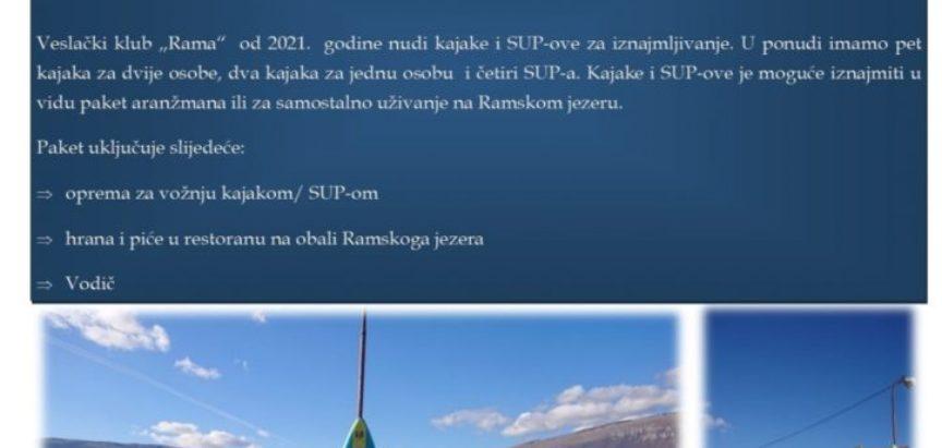 TURISTIČKA PONUDA VESLAČKOG KLUBA RAMA: Tura kajakom i SUP-om na Ramskom jezeru