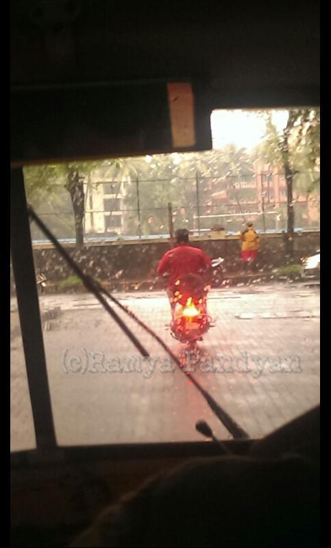 Motorist in the rain