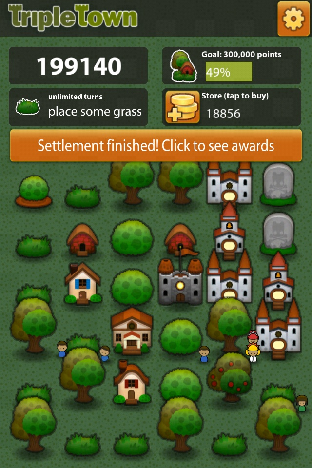 Screenshot of the iOS game Triple Town, showing a finished game with 199,140 points