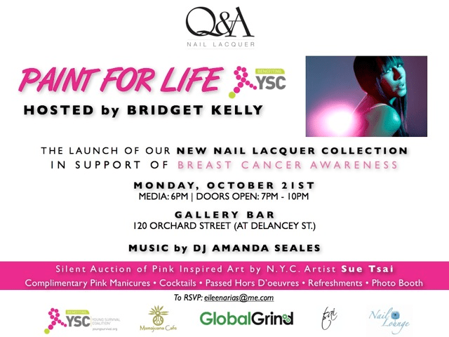 Q & A Nail Lacquer Launch Party Flyer