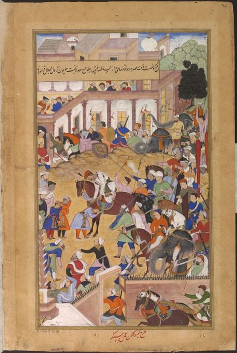 800px-1573-Akbar_receiving_his_sons_at_Fathpur-Akbarnama
