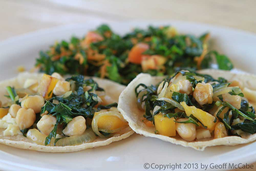 Tacos with chickpeas and Swiss chard