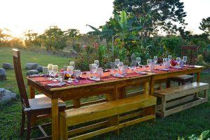 Farm to table dinner prepared for sunset