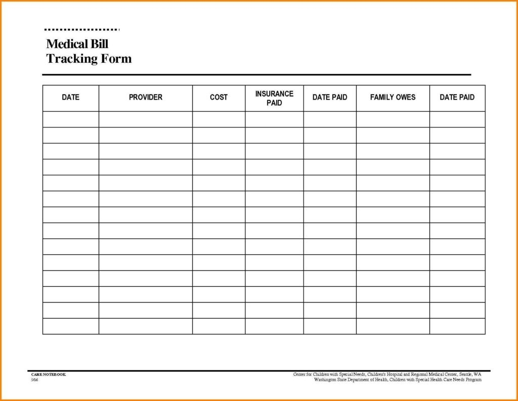 Free Printable Monthly Household Bills Due Form Template