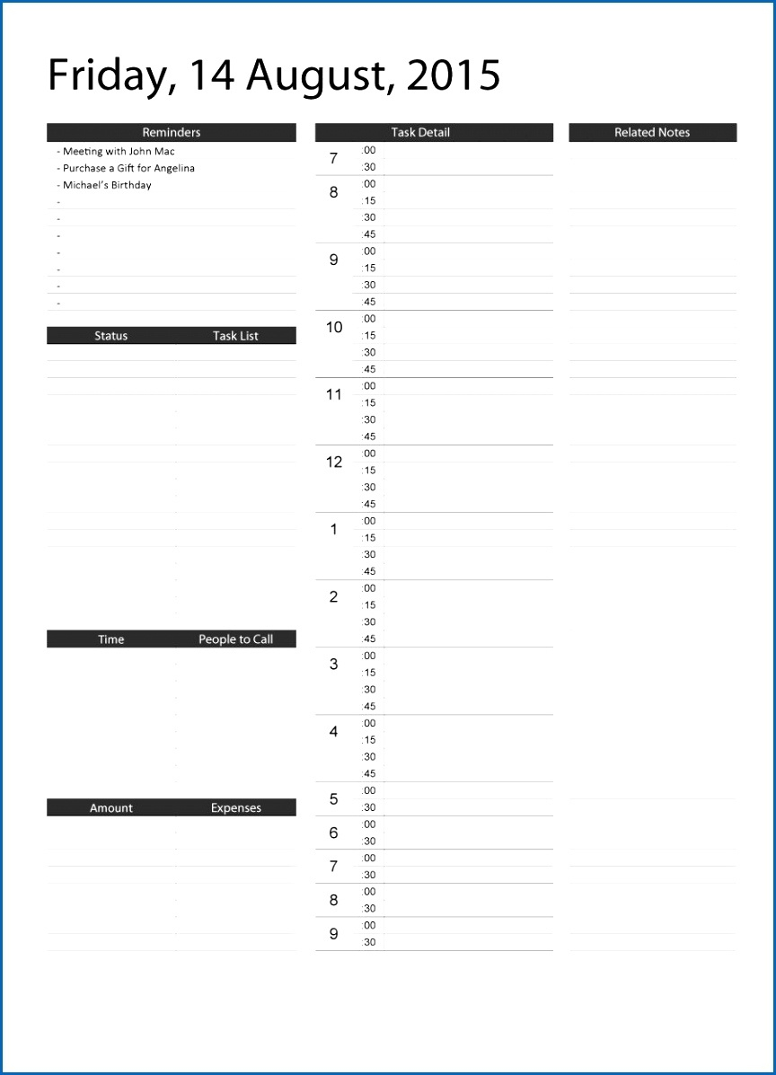 printable daily planner with times