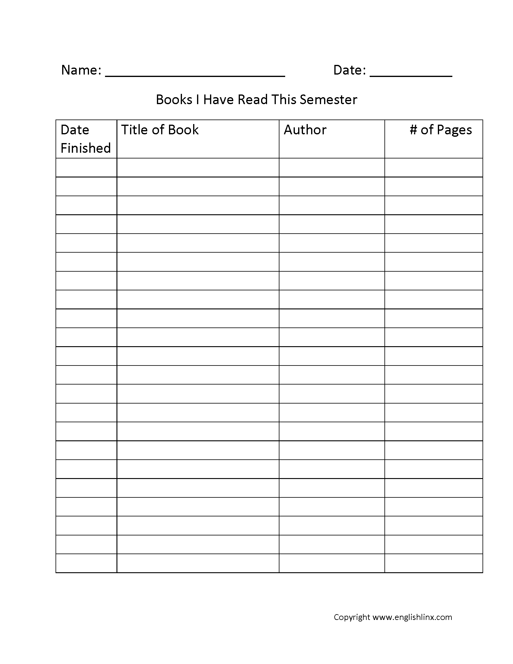 Printable Reading Log 4th Grade Template Calendar Design