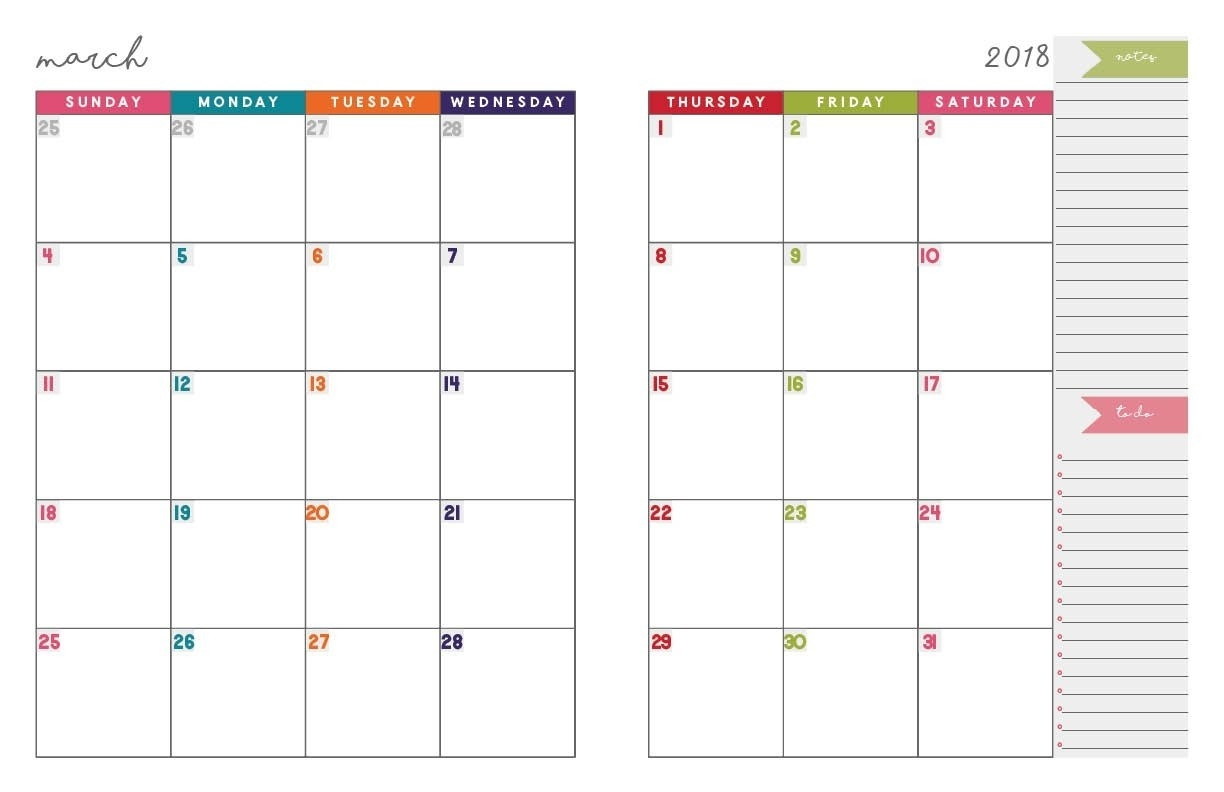 Printable Monthly Organiser Pages Monday To Sunday Template Calendar Design