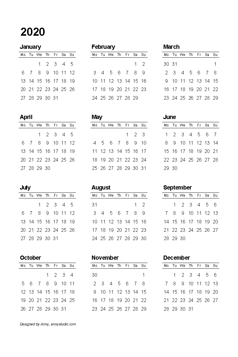 Printable Full Page Calendar 2020 - Template Calendar Design