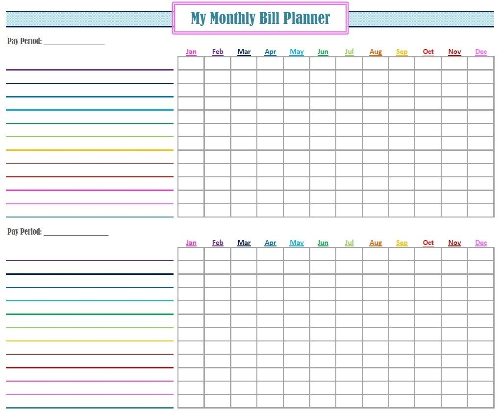 Monthly Bill Payment Free Fillable Template Calendar Design