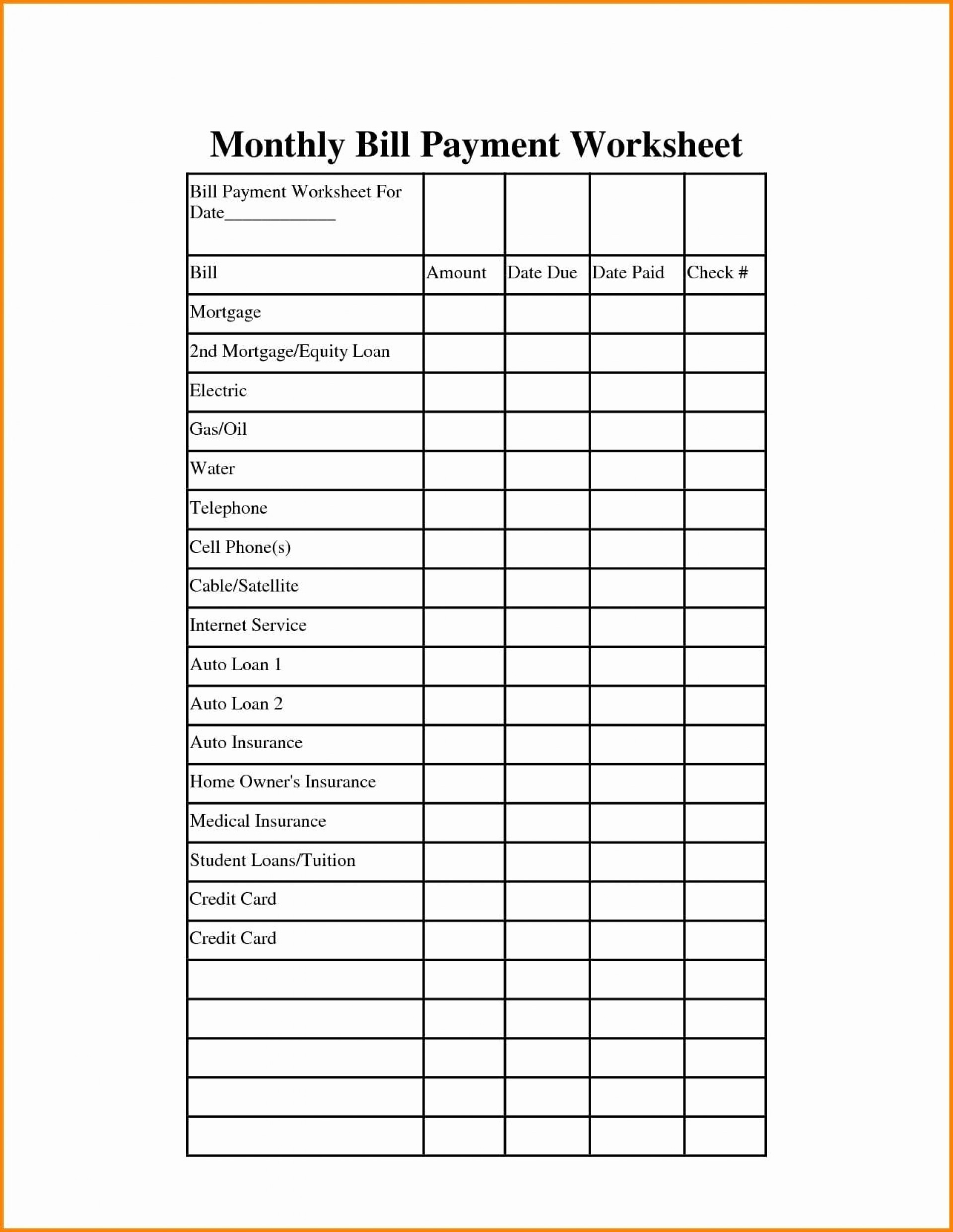 Weekly Bill Paying Worksheet Template Calendar Design
