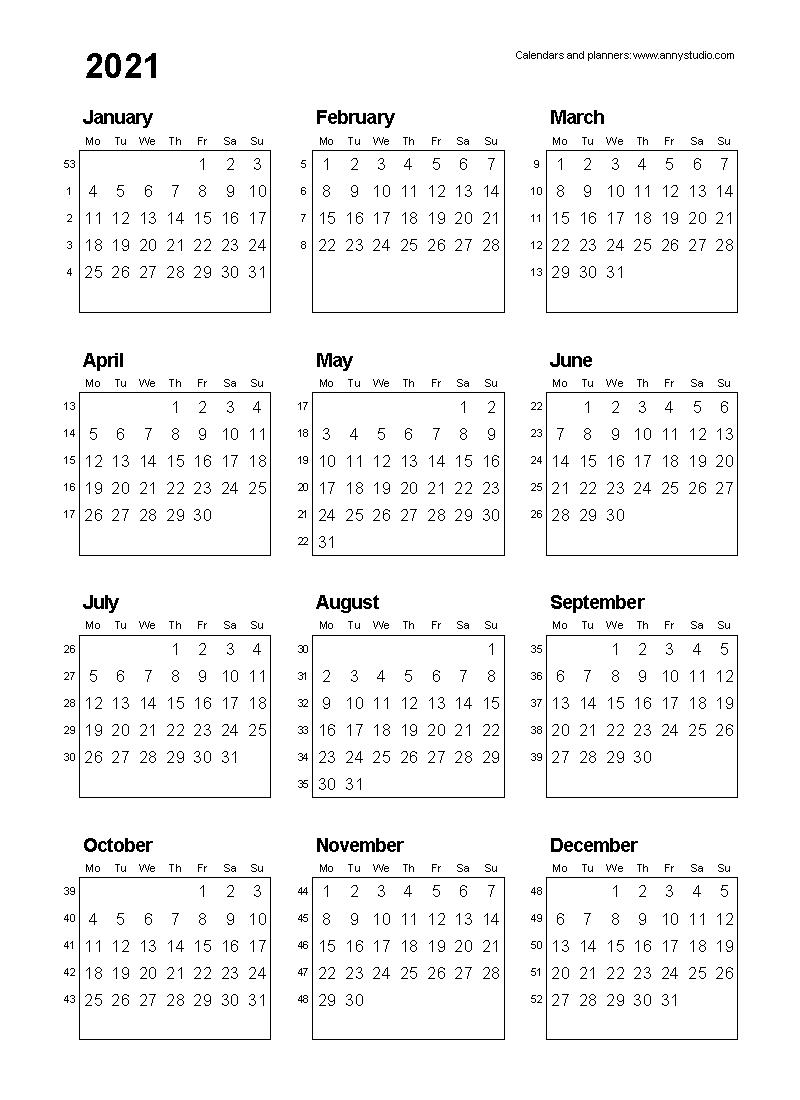 2021 Calendar Printable One Page - Template Calendar Design